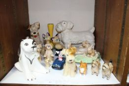 SECTION 21. A mixed lot of ceramics including Sylvac dogs, rabbit wheel and vase Beswick dogs,