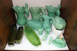 SECTION 30. A large quantity of Sylvac including green glazed stork jugs, small jugs, bowls and