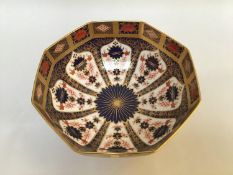 A Royal Crown Derby 'Old Imari' pattern bowl, of octagonal form, numbered '1128' to base and with