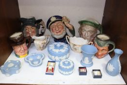 SECTION 14. A collection of assorted mixed ceramics comprising five various character jugs, six