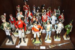 SECTION 39. Twenty three various ceramic soldiers including Officer Grenadier Guards, Gordon