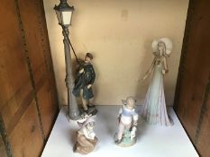 Four assorted Lladro ceramic figures comprising Lamp lighter '5205', Lady in flowing dress '1431',