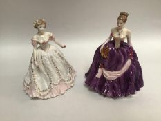 Two assorted Royal Worcester figural ladies comprising 'Winter Palace', limited edition number 319/