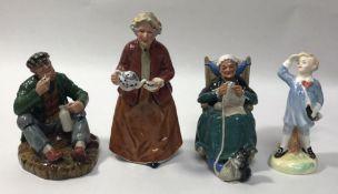 Four assorted Royal Doulton figures comprising 'Teatime HN2255', 'Little Boy Blue HN2062' 'The