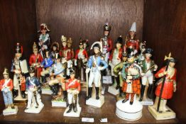 SECTION 37. Twenty three various ceramic figures of soldiers including Grenadiers, Dragoon Guards,