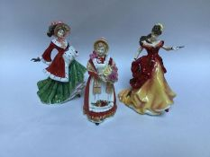 Three assorted Royal Doulton ceramic figural ladies comprising 'Old Country Roses HN3692', '