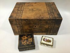 A German hand painted porcelain trinket box, painted to the cover and the underside of cover with