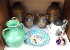 SECTION 31. Two pairs of Oriental vases, together with an Oriental teapot, scalloped edged dish with