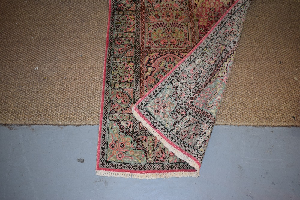 Lot 157 - Kashmiri silk runner, north India, second half 20th century, 11ft. 6in. X 3ft. 1in. 3.50m. X 0.