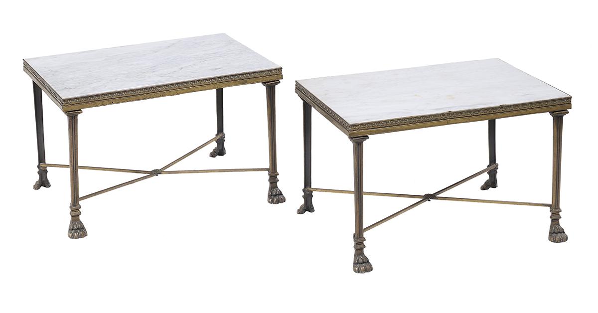Lot 890 - Pair of Regency-Style Marble-Top Low Tables