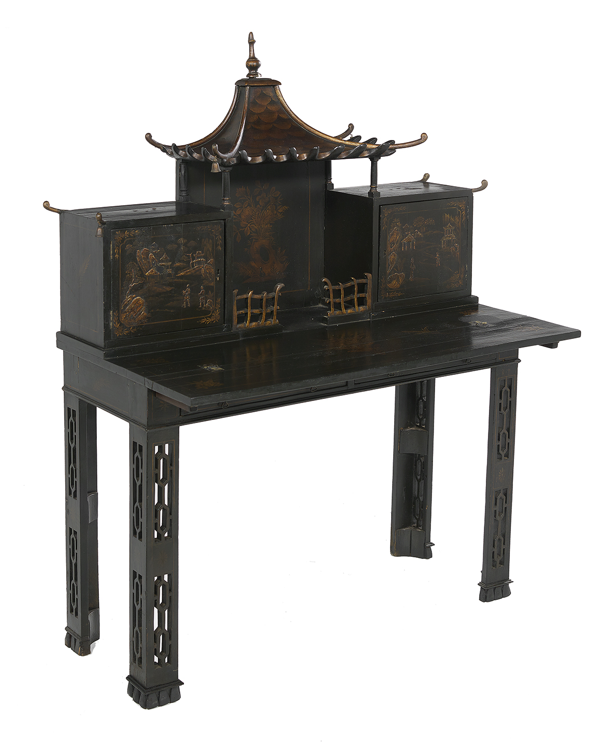 Lot 468 - Black-Lacquered Chinoiserie-Decorated Desk