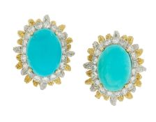 Pair of Turquoise and Diamond Earrings