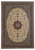 Signed Isfahan Silk and Wool Carpet