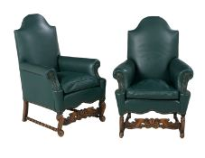 Pair of Leather Bergeres