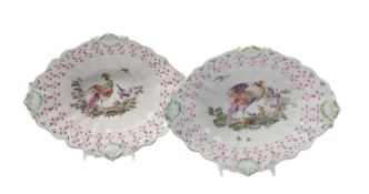 Pair of Hand-Painted Porcelain Oval Dishes