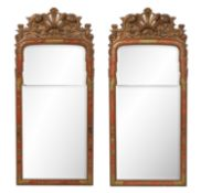 Pair of Queen Anne-Style Japanned Mirrors