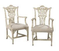 Pair of George III-Style Polychromed Armchairs
