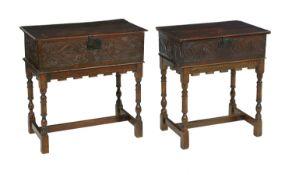 Two English Oak Bible Boxes