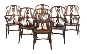 Suite of Six English Elm Windsor Armchairs