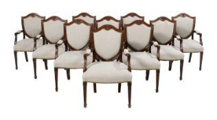 Suite of Ten Georgian-Style Mahogany Armchairs
