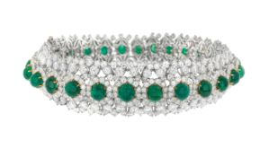 David Webb Emerald and Diamond Choker/Bracelet