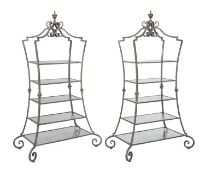 Pair of Contemporary Iron and Glass Etageres