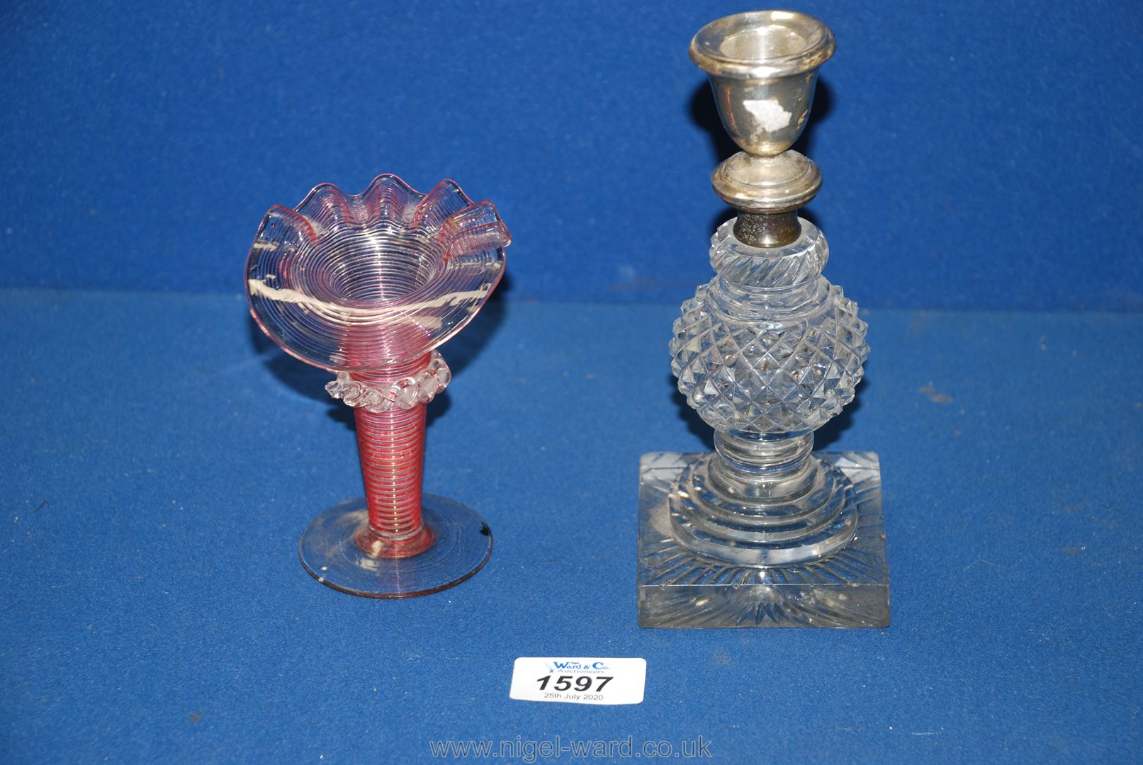 Lot 1597 - A cut glass Candlestick,