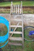 A six step wooden Step ladder.