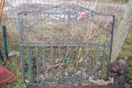 """A pair of metal Garden gates, 40"""" tall x 47"""" wide."""