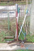 Two long armed Lawn shears, a dock puller, dibber, etc.
