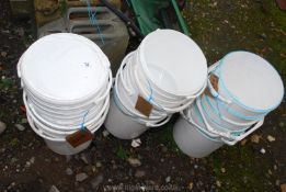 A large quantity of Plastic buckets.