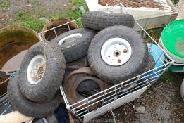 A quantity of Wheelbarrow/Sack Truck/Buggy wheels & tyres.