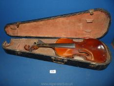 """A Nippon made Violin, body 14"""" long, total length 23"""", (violin and case both a/f)."""