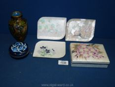 A quantity of Cloisonne including white and cherry blossom jewellery box, three metal trays,