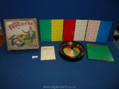 """A 1930's """"Poulette"""" Roulette game with contents (no ball)"""