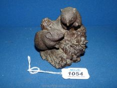"""A small ornamental carving of two mice named Fisher on the back, damage to ear, 4"""" high."""