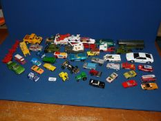 A quantity of Matchbox and Corgi cars, trucks and lorries including a K74 Volvo estate,