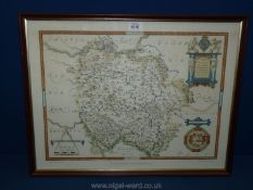 A 'Saxon's map of Herefordshire 1577' printed in 1964,