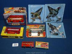 Seven die cast models, including Matchbox, Budgie Lone Star, fighter planes including Alpha Jet,