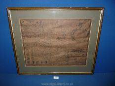 A framed map of Pembrokeshire circa 1600's by John Speed, possibly reproduction,
