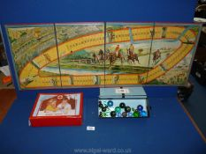 A Chad Valley game board for a horse racing game, toy doctors bag and small quantity of old marbles.