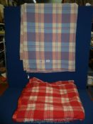 Two double check blankets: one ''Derw'' in red and cream made in Wales and the other