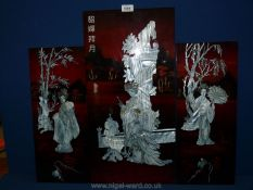 Three Chinese panels with inlaid mother of pearl depicting Geisha ladies,