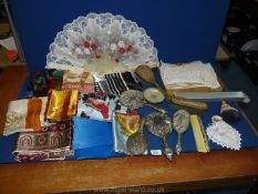 A quantity of miscellanea to include ladies scarves, mixed part dressing table sets,