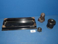 A black rectangular tray with London silver corners plus a black ink pot, head etc.