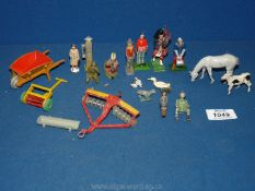 A quantity of hollow cast toys including Britain's, agricultural, Dinky , animals, garden tools,