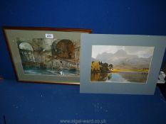 A mounted print 'Blea Tarn' by W.