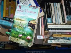 Two boxes of books to include Dick Francis, Bill Bryson, The Life of Samuel Johnson, etc.