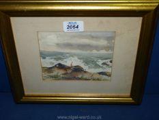 A watercolour ''Seascape'', signed Helen Schepens-Kraus.