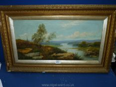 A gilt framed Oil on canvas depicting a river landscape with rolling hills in the distance and